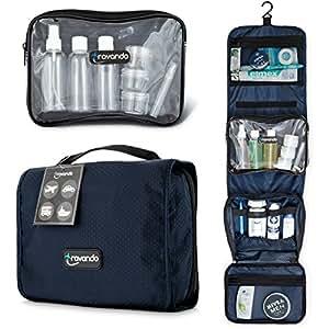 Travando ® Premium Kulturtasche zum Aufhängen + Transparente Reißverschlusstasche / Kosmetiktasche + Sieben Flüssigkeiten-Behälter | Faltbarer Kulturbeutel für Herren , Damen (Marineblau)
