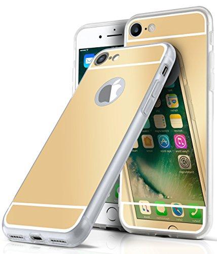 Spiegel iPhone 7/8 Hülle Silber Silikon [OneFlow Mirror Back-Cover] TPU Schutzhülle Dünn Handy-Hülle für iPhone 7/8 Case Ultra-Slim Silikonhülle Rückseite GOLD