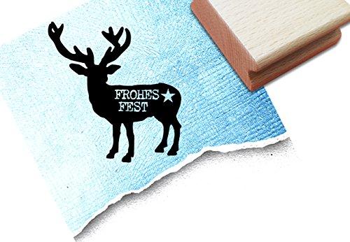 Stempel - x 16 6 - Weihnachtsstempel - Motivstempel Hirsch mit Schriftzug Frohes Fest und Stern zum Gestalten von Servietten - Geschenkanhängern und vielem mehr (Glücklichen Servietten)
