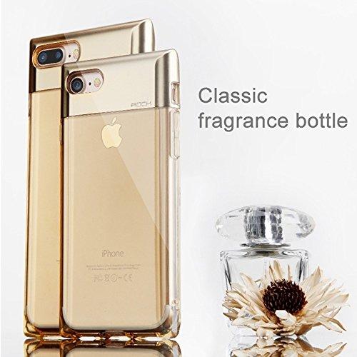 iPhone Case Cover ROCK Crystal Series pour iPhone 7 Plus forme de bouteille de parfum Forme TPU + PC Boîtier de protection avec trou de hochet & Call LED Lighting Fonction clignotante ( Color : Gold ) Gold