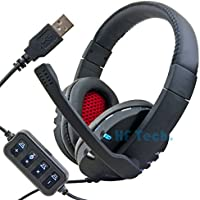 HFTEK® USB Stereo Headset Cuffia Microfono Notebook PC Portatile VoIP