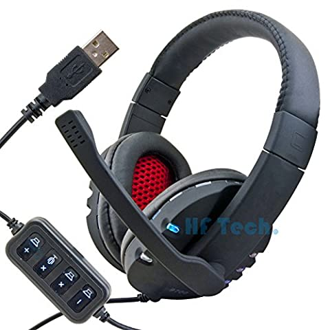 HFTEK USB Stereo Headset Kopfhörer Mikrofon Notebook Laptop PC VoIP Gamer Gaming Kopfbügel