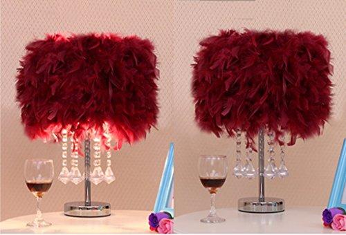 XINGQIANRU Einzigartige Kreative Dekoration Geschenke LED Federn Im Wohnzimmer Crystal Metall Tischlampe Hochzeit Schlafzimmer Schlafzimmer Kopfteil (450Mm Hoch, 300-350Mm Im Durchmesser) Weiß,Red (Hoch Tischlampe)