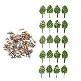 #5: Generic 20pcs 8.8cm Green Trees + 100pcs Painted Figure Models Set for Train Railroad Layout Building