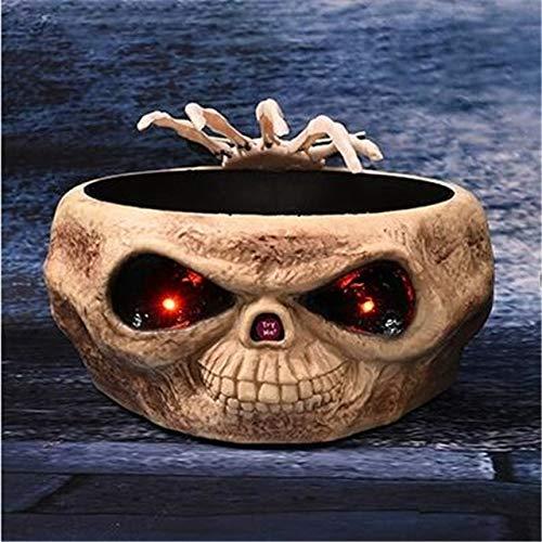 WSJDE Scary Halloween Requisiten Halloween Bowl Schädel Halloween Dekoration Elektro Moving Hand Obst Candy Organizer Party SuppliesHuang
