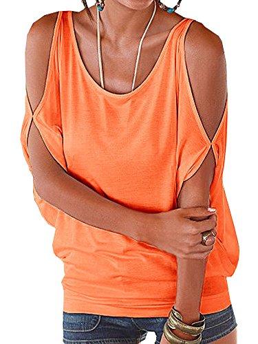 elevesee-womens-off-the-shoulder-shirring-drape-top-orange-x-large