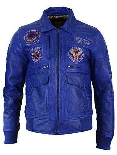 Herrenjacke 100% Echtleder Blau Bomber Design Plaketten Air Force Aviator Still Blau