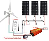 ECO-WORTHY 800W Solar Panel & Wind Turbine 12 Battery Charging Kits: 400W Wind Generator + 3 pcs 150W Solar Panels + 1000W Off Grid Inverter in Home Family