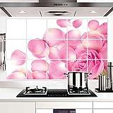 Daadi Hochtemperaturbeständige Aluminiumfolie Küche Öl gegen die Fliesen der Wand Dunstabzugshaube Kabinett Sticker Pink Rose Petal Wand Aufkleber für Wohnzimmer Schlafzimmer TV-Wand Wand montieren.