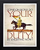 L Lumartos Vintage Poster Come On, Boys Do Your Duty by Enlisting Now Contemporary Home Decor Wall Art Print, Schwarz, A4