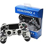 RQINW PS4 Gaming Controller Wireless Bluetooth Gamepad, USB-Aufladung, Vibrationsrückmeldung, Gaming Controller für PS4 (Camouflage Grey)