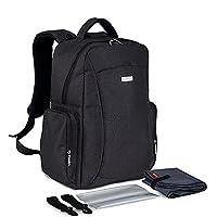 YuHan Oxford Baby Diaper Bag Nappy Backpack Change Pad Insulation Bag Fit Stroller Black