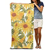 Microfiber Beach Towel Watercolor Sunflower Pattern 30