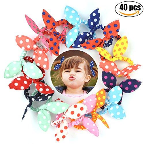 Noeud Papillon, Fascigirl 40 PièCes Cravate de Cheveux D Enfants Oreille de Lapin à Motif de Pois Mignon Porte Queue de Cheval