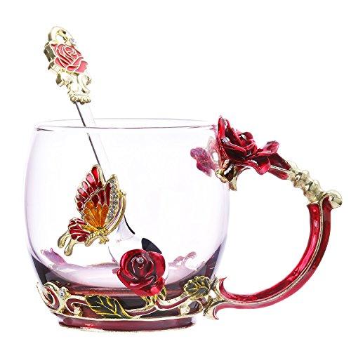 TEE Tasse Kaffee Becher Sonnenbrille-Cups & Löffel Schönes Einzigartiges Geschenk für Frauen Schmetterling Rose fein rose