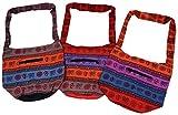 Damen Vintage Beuteltasche Umhängetasche Ethno Muster Print Bunt verschiedene Farben, Orange/Bunt