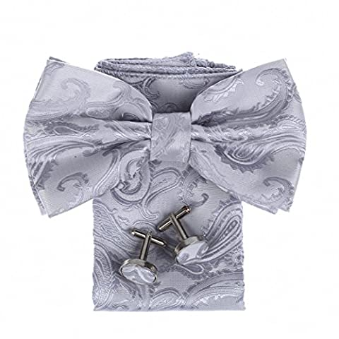 DBC3B01Q Dim Grey Patterned Gift For Shopstyle Woven Microfiber Pre-tied Bow Tie Hanky Cufflinks Suppliers For Wedding By Dan Smith