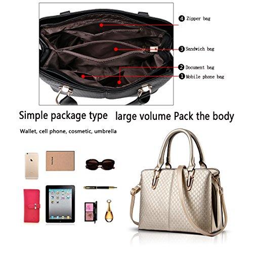 Sunas 2017 nuova borsa semplice portafoglio La signora borse in rilievo spalla casuale della borsa del messaggero della borsa champagne oro