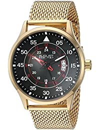 August Steiner Men's Gold-Tone Case With Red Accented Black Dial And Gold-Tone Stainless Steel Mesh Bracelet Watch...