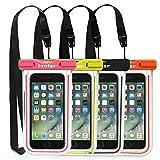 [Certifiée IPX8] Pochette Téléphone Étanche, [Lot de 4] iVoler Housse Coque Étanche Universel (Smartphones Jusqu'à 6.2 Pouces) Waterproof Case Bag Etui Safe Water Pouch avec Transparent Touch Sensible et Séchage Rapide pour iPhone X, 8, 8 Plus, 7, 7 Plus,6 / 6s Plus, SE 5S 5C, Samsung Galaxy S9/S9 Plus/S8/S8+/S7/S7 Edge, Huawei P20/P20 Lite, Wiko, LG, Sony, Motorola, et d'autres appareils de taille égale ou inférieure à 6.2''. [Garantie à Vie] (Nior+Vert+Rose+Orange)