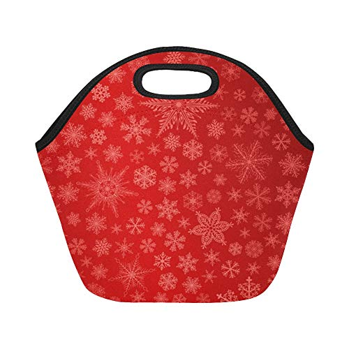 opren Lunchpaket Christmas Big Small Schneeflocken Rot Large Size Wiederverwendbare Thermische Dicke Mittagessen Tragetaschen für Lunch-Boxen für im Freien, Arbeit, Büro, Schule ()