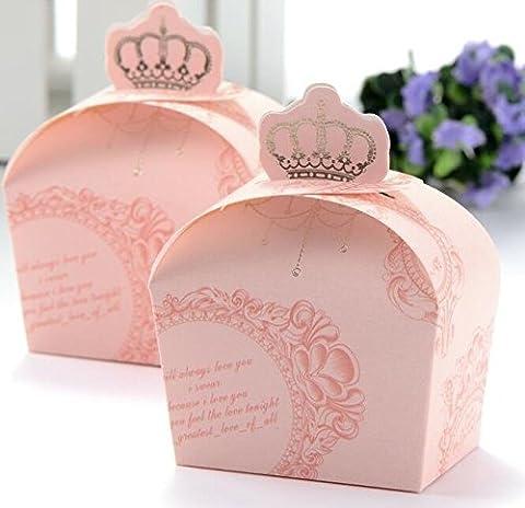 Lugii Cube Motif de couronne Royal baby shower Boîtes Cadeau de mariage Boîte à dragées 50pcs Rose