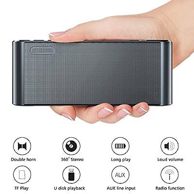 Enceinte Bluetooth Radio FM Numérique Portable Lecteur MP3 sans Fil Haut-Parleur Portable Bass Puissant Microphone Intégré, Les Pilotes Double Basse Compatible iPhone Android, iPad, Ordinateur (Noir) de X-EUCO