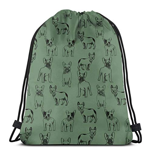 vintage cap French Bulldog - Dog, Pet, Dogs, Frenchie, Cute Dog, French Bulldogs - Moss_25843 3D Print Drawstring Backpack Rucksack Shoulder Bags Gym Bag for Adult 16.9