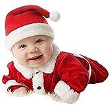 3PCS Weihnachtsstrampler Unisex Einteiler Baby Outfits Kinderkleidung Sets Weihnachtsmann Langarm Strampler Weihnachtsgeschenke Oberteil + Hose + Hut Meedot