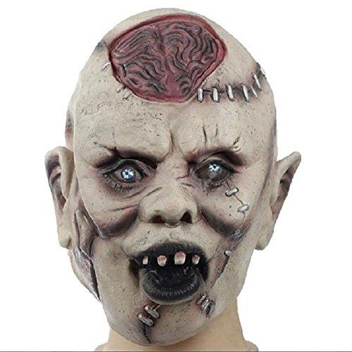 GOTOTOP Scary Horror Zombie Maske, Latex Halloween Horror Ghost Masken Schädel Zombie Bloody Gesichtsmaske (Burst Gehirn Zombie Maske)