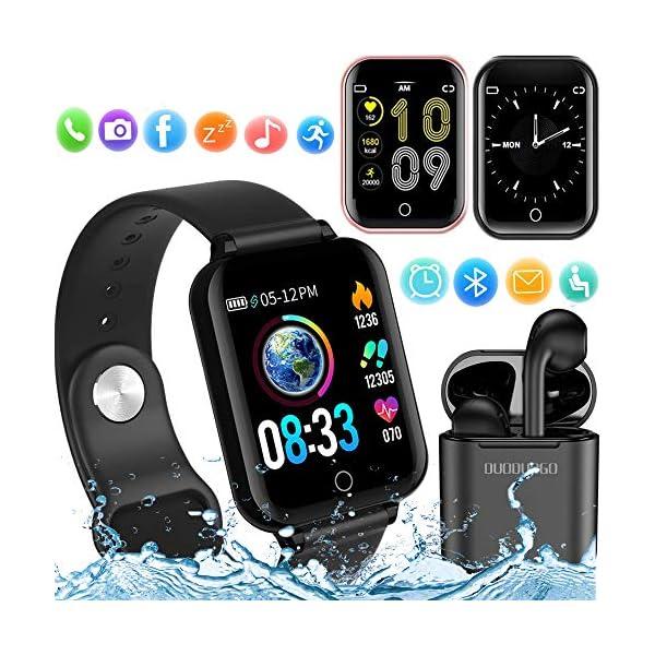 Smartwatch, Reloj Inteligente Mujer Hombre Pulsera de Actividad Inteligente Impermeable IP68 Pulsómetros Podómetro Monitor de para Sueño Calorías, para iPhone Android Xiaomi Samsung Huawei 1
