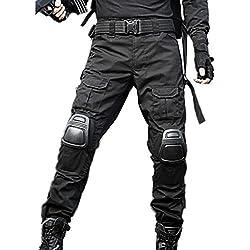 "haoYK Pantalon militaire Paintball BDU Pantalon Airsoft Pantalon polyvalent avec genouillères (XL (36""), Noir)"