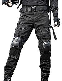 ed9b85a564 haoYK Pantalones tácticos militares Paintball BDU Pantalones Airsoft  Pantalones multibolsillos con rodilleras (M (32