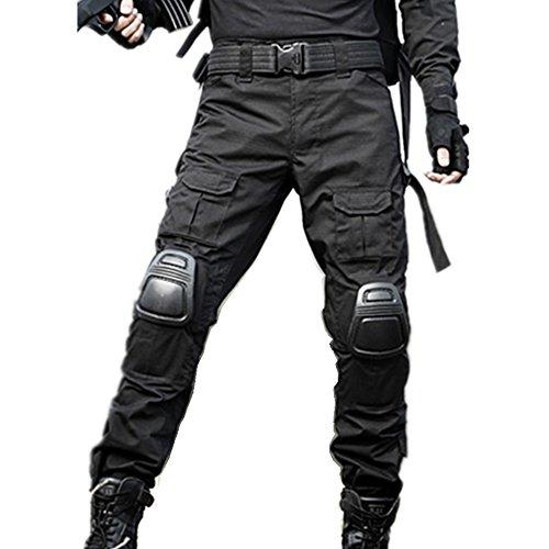 haoYK Pantaloni tattici di Paintball BDU Militare Pantaloni Airsoft Pantaloni da lavoro multiplo con ginocchiera (XXL (38'), Nero)