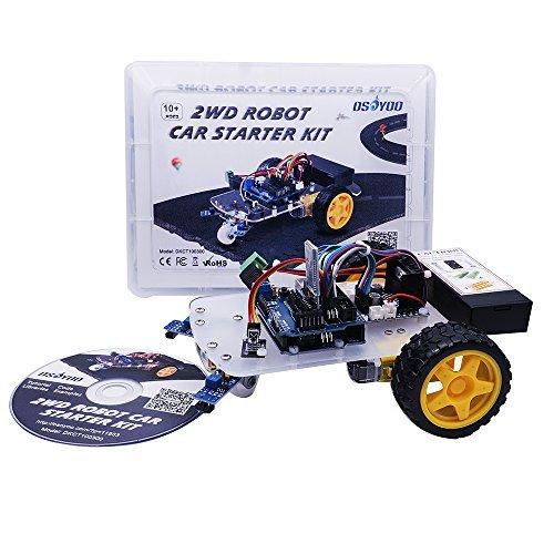 OSOYOO UNO Projekt Smart 2WD Roboter Auto Starter Kit mit UNO R3, Linien Tracking Modul, IR-Modul, Bluetooth Modul, Intelligente und Pädagogische Spielzeugauto Roboter Kit für Kinder Teens