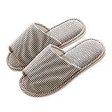VWU Unisex Damen Herren Frühling Pantoffeln Einfarbig Blatt Baumwolle Weich Hausschuhe Offen Anti Rutsch Innen Indoor Home Zuhause Slippers (39/40, Khaki)