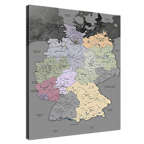 """LanaKK - Deutschlandkarte Leinwandbild mit Korkrückwand zum pinnen der Reiseziele \""""Deutschlandkarte Edelgrau\"""" - deutsch - Kunstdruck-Pinnwand Globus in grau, einteilig & fertig gerahmt in 40x60cm"""