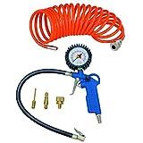 Scheppach Perslucht-set, 5-delig, compressor-set, bandenvulmeter, luchtafvoerventiel, 5 m spiraalslang, 3 opzetmondstukken)