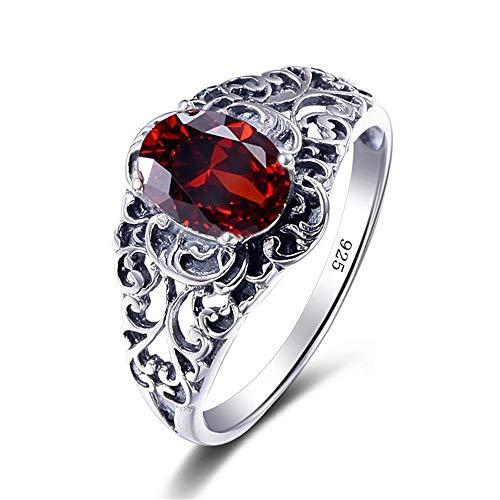 RKWEI Ringe Für Sterling Silber Schmuck Big Ring Shiny Granat Rose 925 Silber Ring Damen Schmuck 7 (Ring Silber Ewigkeit Granat)