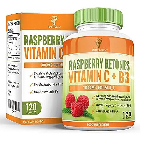 Chetoni di lampone, con Vitamina C e Niacina, per integrare la dieta e dimagrire, per uomo e donna, inibitore di appetito ultra potente, 1000mg, 120 capsule (il doppio rispetto alla concorrenza)