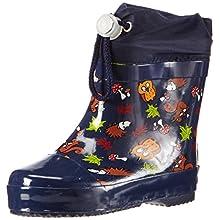 Playshoes Unisex Kid's Lined Wellies Rain Boot Animals Wellington Rubber, Blue (Marine 11), 5.5 UK Child