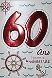 Age Mv 69-2037 Carte Anniversaire 60 ans Homme Femme motif Mer Ancre Boussole Gouvernail