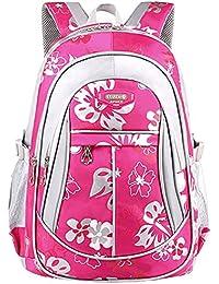 Preisvergleich für Freitop Schulrucksack mit Blumen Muster ab 4 Jahre Pink Schulranzen Rucksack Kindergartenrucksack Schultasche...