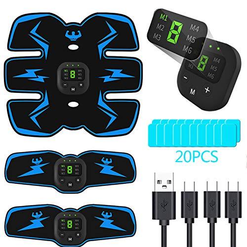 PewinGo Electroestimulador Muscular Abdominales, USB Recargable EMS Estimulador Muscular Abdominales...