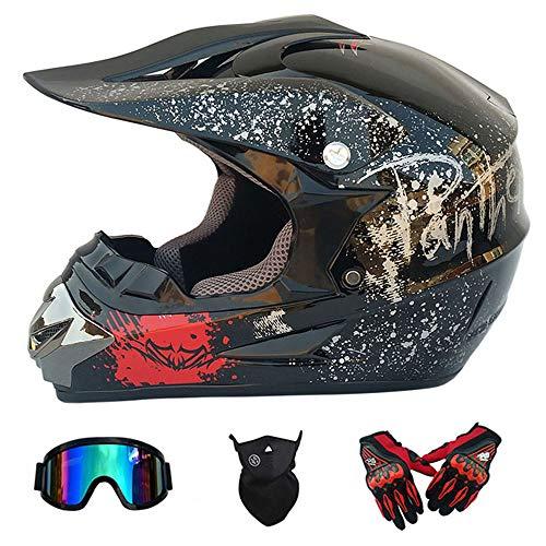 Wansheng Motocicletta Moto Motocross caSchi e Guanti e Occhiali D. O. T Standard Bambini Quad Bike ATV Go Karting Casco Rosa Aquila,M57~58CM