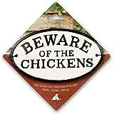 Aimant En Acier Et Beware of the chicken signe ovale en fonte