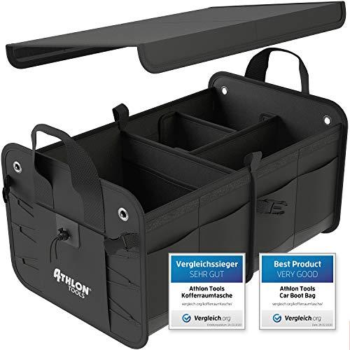 ATHLON TOOLS Premium Kofferraumtasche mit Deckel   Vergleichssieger 12/2019 - sehr gut -   60 Liter XXL Kofferraum-Organizer   Extra stabile & wasserfeste Böden   mit Antirutsch-Klett
