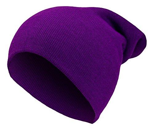 Sense42   Long Beanie Mütze   lange Strickmütze Unisex, für Damen und Herren   Wintermütze Uni   One Size   einfarbig   violett (Lila Long Beanie)
