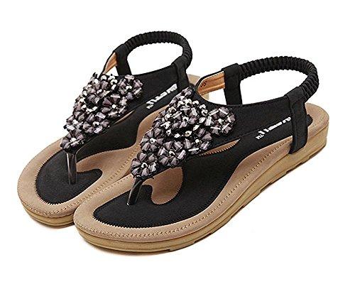 Minetom Damen Sommer Böhmische Stil Flache Schuhe Süße Blumen Strass T-Strap Sandalen Flats Thong Strand Hausschuhe Schwarz