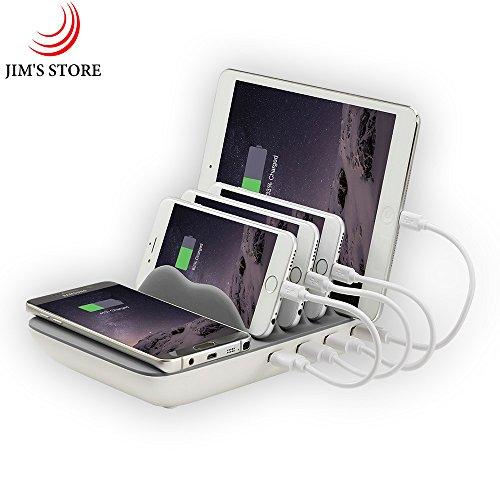 Ladestation Organizer, 4-Port Fast Smart USB Lade-HUB Desktop Lade-Dock mit QI Wireless-Ladegerät & 4 Handy-Kabel für iPhone 7 / 7s / 8/ X / iPad / Huawei/ Samsung / Smartphones(Grau)